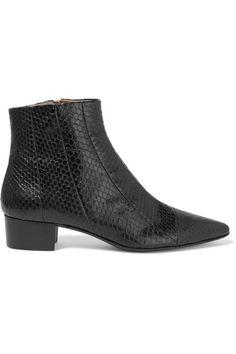 The Row - Ambra Elaphe Ankle Boots - Black