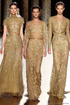 Elie Saab Fall/Winter 2012-2013 Gold Filigree Couture Gowns