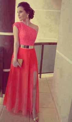 Coral Lace Shoulder Belt Metal Ball Gown Evening Dress