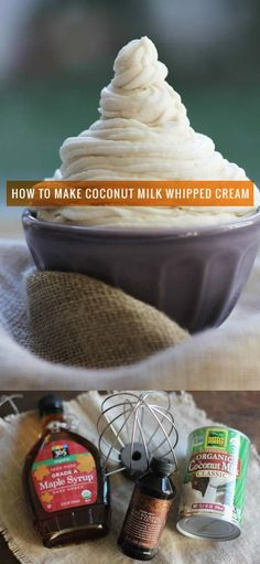Sugar free Frosting - Dairy free Frosting How to Make Coconut Milk Whipped Cream Whipped coconut milk cream is easy, delicious, and vegan too! Heres a step-by-step tutorial on how to make coconut milk whipped cream. ((Idea: Swap Stevia for maple syrup ? Coconut Milk Frosting, Coconut Milk Whipped Cream, Sugar Free Frosting, Make Coconut Milk, Dairy Free Treats, Sugar Free Treats, Sugar Free Recipes, Coconut Recipes, Healthy Recipes