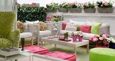 colorful patio ideas, white wicker furniture and colorful accessories White Wicker Furniture, Outdoor Furniture Sets, Furniture Ideas, Outdoor Rooms, Outdoor Living, Outdoor Decor, Outdoor Seating, Outdoor Ideas, Urban Balcony