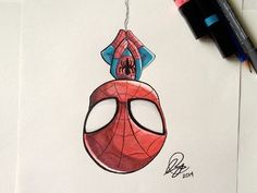 Chibi SpiderMan Marker - Chibi SpiderMan Marker by Stéphanie Forbes - . - Chibi SpiderMan Marker – Chibi SpiderMan Marker by Stéphanie Forbes – Chibi Spiderman, Spiderman Tattoo, Spiderman Drawing, Chibi Marvel, How To Draw Spiderman, Deadpool Chibi, Comics Spiderman, Chibi Superhero, Spiderman Sketches