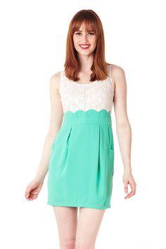 Lace Mint Scallop Dress