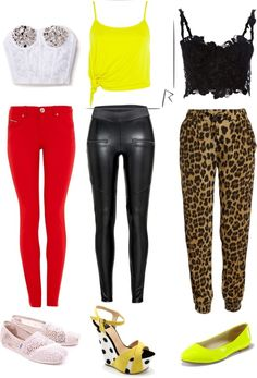 """""""Triple Threat"""" by amber-jael on Polyvore...$1,352 total for the entire lineup...1.) Runway Dreamz White Lace Bustier with Silver Studs ($148), New Look Parisian Bright Red Jeggings ($35), Tom's Women's Classic Morocco Crochet ($68). 2.) River Island Rihanna Yellow Knot Crop Top ($27), Cotton On Pu Zip Legging ($30), Bacio Camoscio Giallo Wedge ($303). 3.) Ermanno Scervino Black Lace Bustier ($655), Bardot Leopard Slouch Pant ($63), and Karlee Glossy Citrus Flats ($23)."""