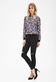 Butterfly Print Chiffon Top | FOREVER21 - 2000100056