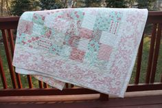 Lap Quilt / Small Double  Four Patch Flip Moda by MeandMomQuilt