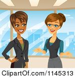 Cartoon Of Happy Businesswomen Talking In An Office Royalty Free Vector Clipart