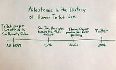 Milestone in the history of the human toilet use