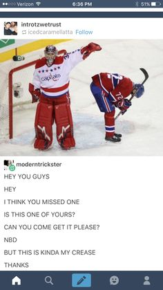You missed one. Caps Hockey, Hockey Goalie, Hockey Games, Hockey Players, Ice Hockey, Funny Hockey Memes, Hockey Quotes, Montreal Canadiens, Capitals Hockey