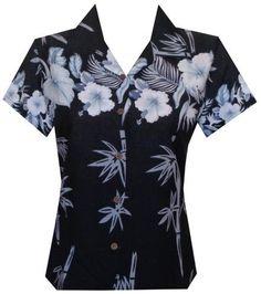 Hawaiian Shirt 35W Women Bamboo Tree Print Aloha Beach Top Blouse Black M, Women's, Size: Medium