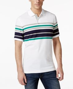 6429d9165 Club Room Performance UV Protection Multi Striped Polo, Created for Macy's  & Reviews - Polos - Men - Macy's