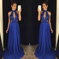 Charming Prom Dress,Sleeveless Evening Dress,Royal Blue Evening Gowns,Formal