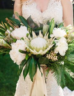 white protea bouquet