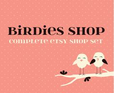 Items similar to Etsy Premade Shop Set, Etsy Banner, Avatar, Reserved Listing, Business Card and Thank-you Card - Shabby Chic on Etsy Love Birds, Thank You Cards, Avatar, Banner, Logos, Cute, Poster, Shopping, Etsy