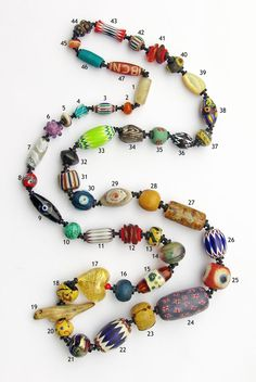Healing Necklace created for Russ Nobbs by members of the Bead Collector Network; including a bead for bead ID (many are wonderful old beads)