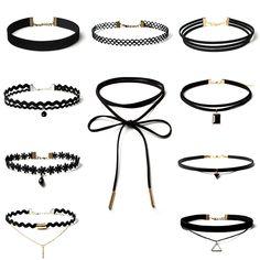 Best Deal New Fashion 10 Pieces Women Black Rope Choker Necklace Set Stretch Velvet Classic Gothic Lace Choker Chain 1Set 9198