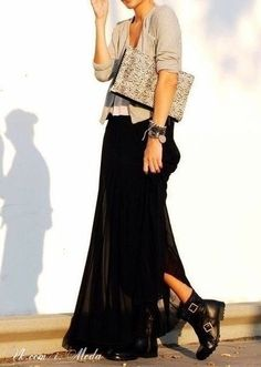 maxi skirt and combat boots