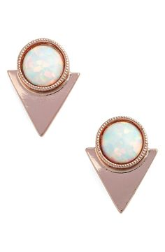 Round stones add opalescent color to these rosy stud earrings designed with a trendy geometric motif.