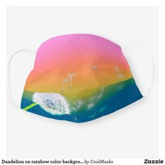 Dandelion on rainbow color background Face Mask Cool Face, How To Protect Yourself, Shape Of You, Mask Making, Rainbow Colors, Sensitive Skin, Face Masks, Dandelion, Create Your Own