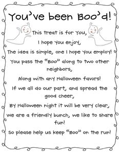 """You've Been Boo'd"":  Need to make 2 treat bags and leave secretly for people in your neighborhood :) ... How about a one dollar Red Box movie rental coupon + hot chocolate with Halloween marshmallow peeps?"