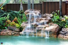 Having a pool sounds awesome especially if you are working with the best backyard pool landscaping ideas there is. How you design a proper backyard with a pool matters. Swimming Pool Fountains, Swimming Pool Waterfall, Rock Waterfall, Swimming Pools Backyard, Lap Pools, Indoor Pools, Garden Fountains, Backyard Pool Landscaping, Ponds Backyard