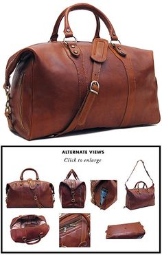The Roma Travel Bag comes in Saddle Brown leather and is finished with brass zipper and hardware. The calfskin leather for this bag was vegetable tanned in Tuscany to create rich color tones while the matte (oil) finish gives it an old school look and scr Luxury Handbags, Purses And Handbags, Cheap Handbags, Tote Handbags, Designer Handbags, Leather Purses, Leather Handbags, Leather Bags, Leather Duffle Bag