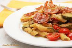 Penne con zucchine, pomodorini e prosciutto cotto