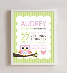 Personalized Birth print Owl wall art  8x10 print by polkaprints, $18.00- customizable for Haileys room !!