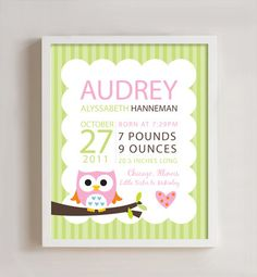 Personalized Birth print Owl wall art  8x10 print