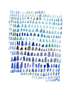 """Reading the Blues II blue ultramarine Sea glass Abstract Watercolor painting summer beach finds ombre nautical  9 x 12"""""""
