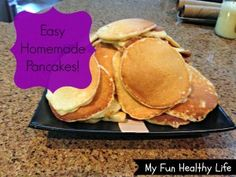 Best Easy Homemade Pancakes - make a large batch and freeze them for busy times!  Makes breakfast easy before school.