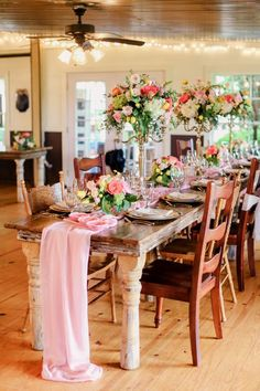 pink chiffon wedding table runner