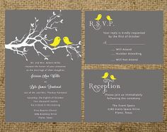 PRINTABLE Gray and Yellow Love Birds Wedding Invitation Set Suite - colors can be changed. $40.00, via Etsy.