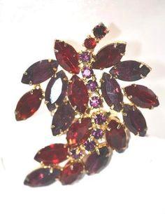 Vintage Juliana Red Rhinestone Leaf Brooch by LustfulJewels