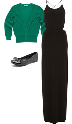 Black maxi dresses are great because you can pair them with almost any cardigan or jacket! Very classic