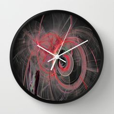 Fractal Design Space Red Wall Clock by Fine2art - $30.00