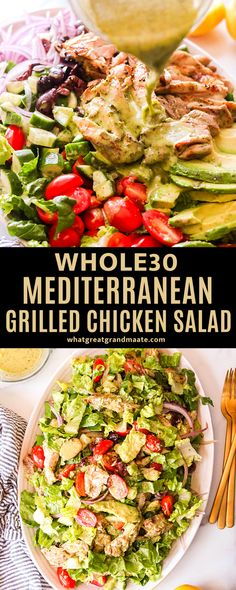 This delicious and easy Whole30 Mediterranean chicken salad recipe is the perfect and refreshing lunch full of healthy veggies: romaine lettuce, cucumbers, tomatoes, olives, and red onions - all tossed in the most flavorful dressing! #paleo #whole30 #chickensalad #glutenfree #dairyfree Paleo Salad Recipes, Paleo Recipes Easy, Whole 30 Recipes, Real Food Recipes, Sandwich Recipes, Lunch Recipes, Free Recipes, Dinner Recipes, Mediterranean Chicken Salad Recipe