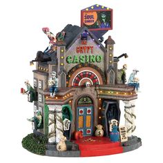 Lemax The Crypt Casino. SKU# 85307.  Released in 2018 as a Spooky Town Lighted Building.