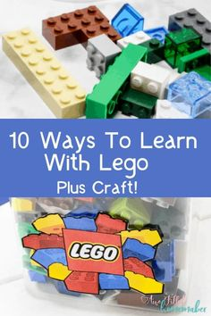10 Ways To Learn With Lego + Craft! Are you like a lot of parents & have a massive amount of lego blocks and wonder what to do with them? What if I told you they could be used for education? Here's 10 ways to learn with lego + a craft! Toddler Preschool, Toddler Crafts, Crafts For Kids, Kids Learning Activities, Preschool Activities, Homeschooling Resources, Homeschool Math, Teaching Ideas
