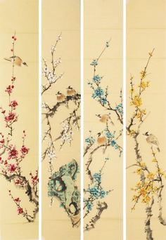 Excellent simple ideas for your inspiration Korean Painting, Japanese Painting, Chinese Painting Flowers, Cherry Blossom Art, Geniale Tattoos, Art Japonais, Traditional Paintings, China Painting, Chinoiserie