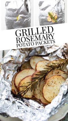 Grilled Rosemary Potato Packets - these foil packet potatoes will become your go to grilling side dish!  So easy with only 5 ingredients!  Watch everyone's faces light up when they open a packet and that aroma from the rosemary and then bite into the tender and flavorful potatoes! Grilled Fruit, Grilled Beef, Grilled Vegetables, Veggies, Stick Of Butter Rice, Grilled Foil Packets, Grilled Side Dishes, Foil Packet Potatoes, Rosemary Potatoes
