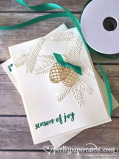 Christmas card! #stampinup #prettypinesthilits #pineboughembossingfolder…