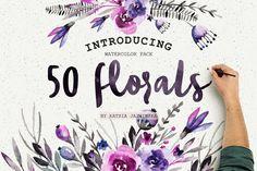 50 Watercolor Flowers Pack by Katsia Jazwinska on @creativemarket