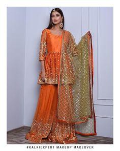 Orange sharara suit set in mirror and zari embroidery only on Kalki Pakistani Party Wear Dresses, Shadi Dresses, Pakistani Wedding Outfits, Designer Party Wear Dresses, Indian Gowns Dresses, Pakistani Dress Design, Indian Designer Outfits, Indian Outfits, Pakistani Lehenga