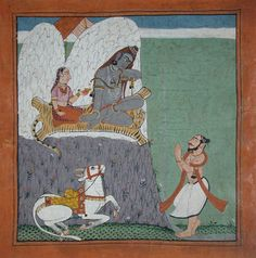 A saint adores Shiva and Parvati on Mount Kailasa with Nandi.     Creation Date: ca. 1730.    Edwin Binney 3rd Collection.   Collection: The San Diego Museum of Art