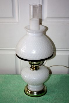 Vintage White Milkglass Hobnail Hurricane Lamp by QUEENIESECLECTIC, $37.00
