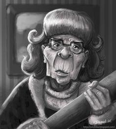 """private work , angry grandma :D by Weronika Daniel aka """"Soulinka"""""""