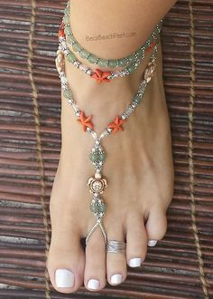 Tortugas - Anklet - Ideas of Anklet - Barefoot Jewelry with turtle and starfish Tortugas Foot Jewelry Barefoot Sandals Anklets Bracelets Beaded Anklets, Beaded Jewelry, Handmade Jewelry, Diy Jewelry, Jewelry Box, Jewlery, Anklet Bracelet, Bracelets, Beach Feet