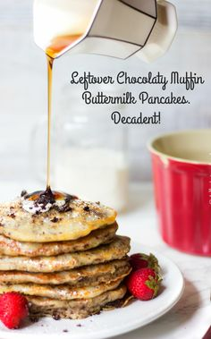 Got leftover muffins or just want something different for breakfast? Try these delicious...Leftover Chocolaty Muffin Chunks Buttermilk Pancakes. Chocolaty Muffins With Chocolate Chips and Fluffy Crisp Edged Buttermilk Pancakes. Decadent!