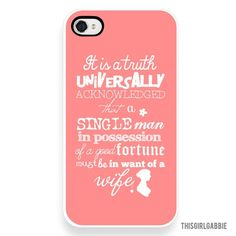 Plastic iPhone Case - Pride and Prejudice Quote - Pink - Jane Austen - iPhone 4/4s - iPhone 5. $28.00, via Etsy. #Christmas #thanksgiving #Holiday #quote